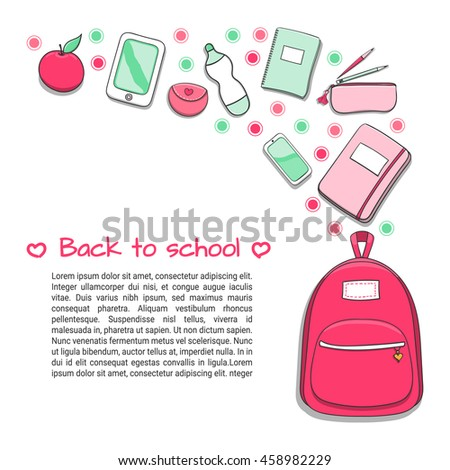 School background with teenager or student girls school supplies. Education poster template for sale banner or flyer. Design for brochures, booklets, leaflet with empty place for your text. - stock vector