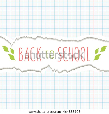 School background with torn paper frame. Vector illustration.