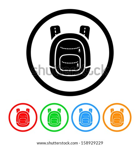 School Backpack Icon with Color Variations - stock vector