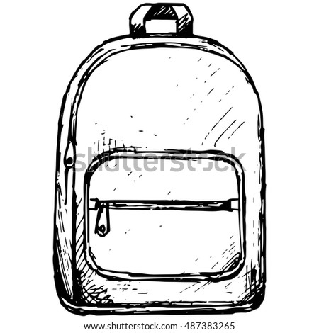 School backpack. Vector illustration, doodle style