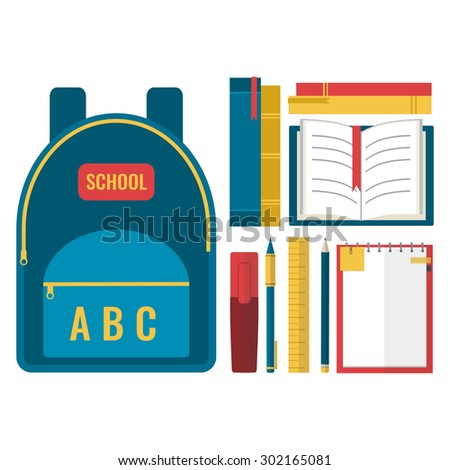 School backpack with books and school accessories. Back to school concept. Flat design vector illustration.