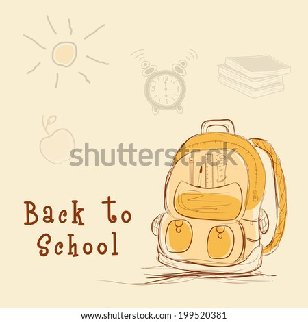 School Bag on stylish brown background, Education concept.  - stock vector