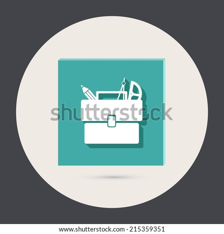 School bag with stationery. Symbol office or school. - stock vector