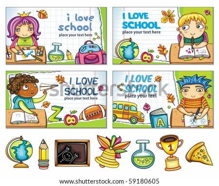 School banners with cute children and colorful icons - stock vector