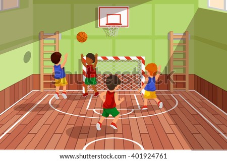School basketball team playing game. Kids are playing basketball, sport basketball, playing gym, court basketball game, vector illustration - stock vector
