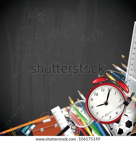 School blackboard background with school supplies - stock vector