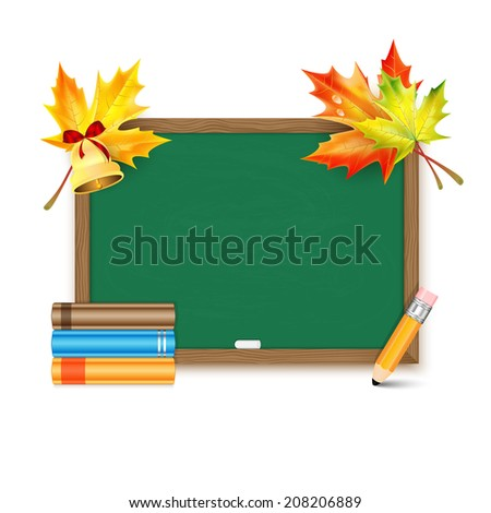 School board with maple leaves and books isolated on white background - stock vector