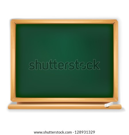 school board with piece of chalk - stock vector