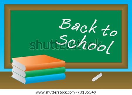 School books on the blackboard - stock vector