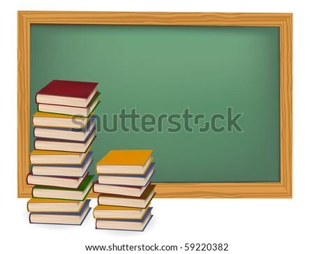 School books on the desk. Vector. - stock vector
