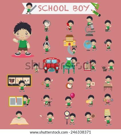 School boy - stock vector