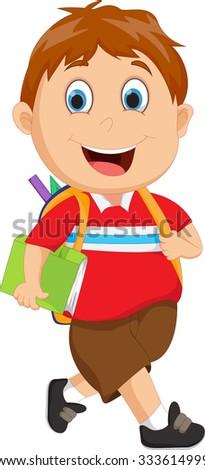 School boy cartoon walking - stock vector