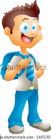 School boy isolated - stock vector
