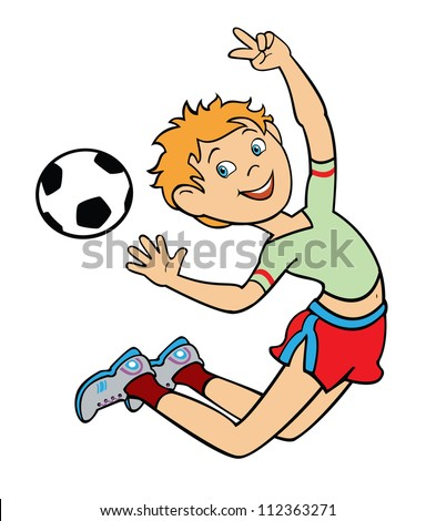 school boy playing with soccer ball,jumping happy kid,vector children illustration isolated on white background - stock vector