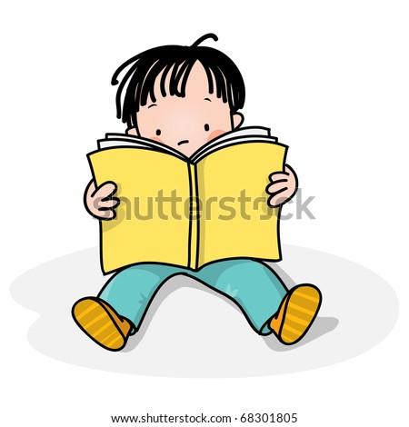 school boy reading a book, also got similar with a girl - stock vector