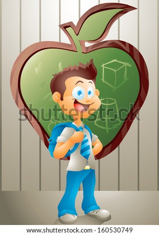 School boy standing in front of classroom chalkboard - stock vector