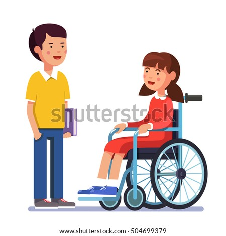 School boy talking to his friend girl who is temporarily disabled and recovering using wheelchair. Handicapped person socialization. Colorful flat style cartoon vector illustration.