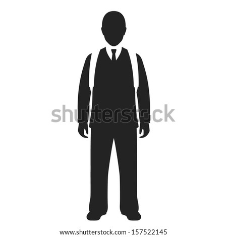 school boy with backpack black web icon. vector illustration - stock vector