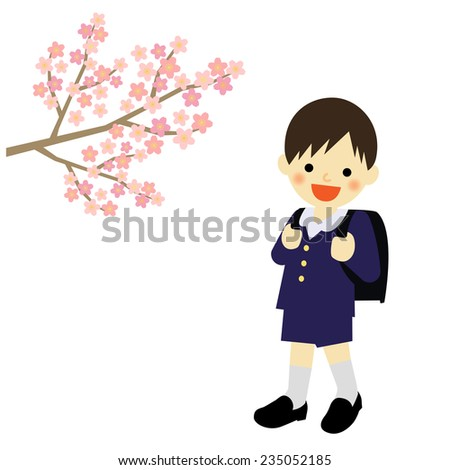 School boy with blooming cherry blossoms / Vector EPS 10 illustration - stock vector