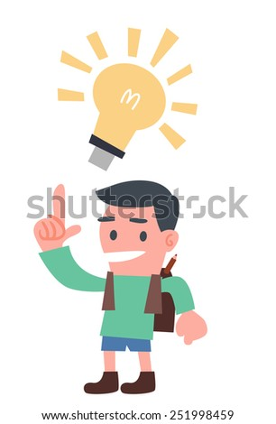 School Boy with Light Bulb