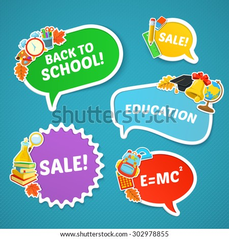 School bright stickers. Back to school sale. Colorful school objects and text. - stock vector