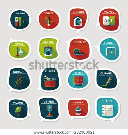 School bubble speech banner design flat background set, eps10, dummy text