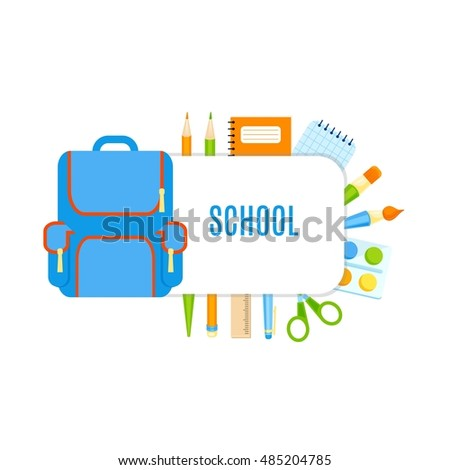 School bubbles with school supplies vector design