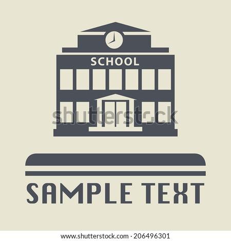 School building icon or sign, vector illustration - stock vector