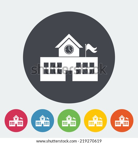 School building. Single flat icon on the circle. Vector illustration. - stock vector