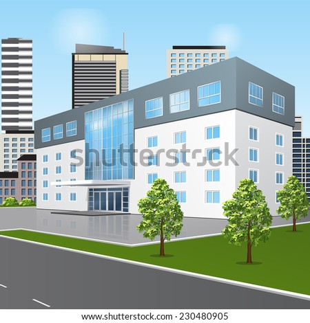 school building with reflection and input on a background of the street - stock vector
