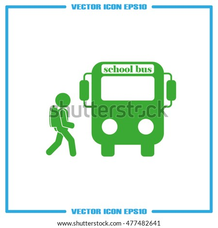 school bus and pupil icon vector