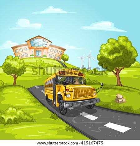 School bus and school building - stock vector