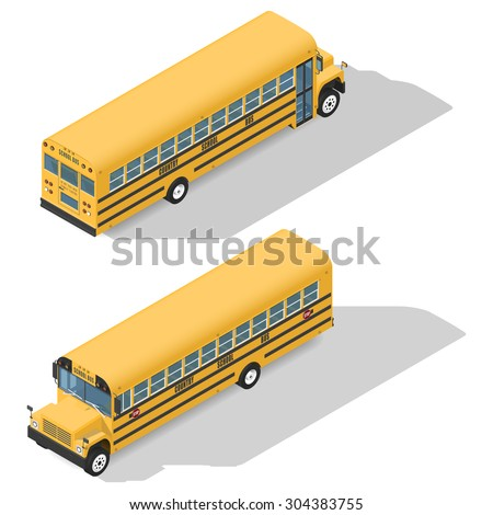 School bus detailed isometric icons set front and rear view graphic illustration design - stock vector
