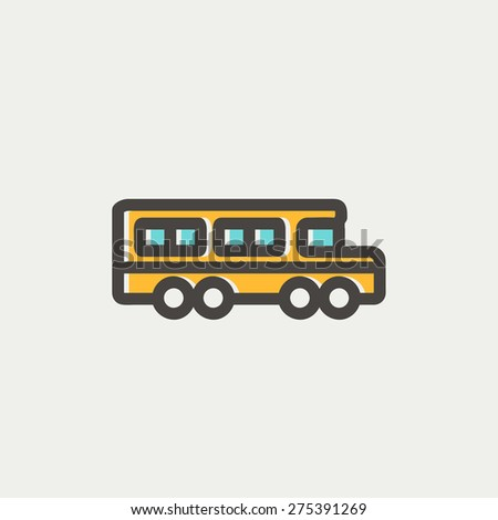 School bus icon thin line for web and mobile, modern minimalistic flat design. Vector icon with dark grey outline and offset colour on light grey background. - stock vector