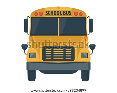 School Bus Illustration - Flat Icon