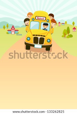 School Bus on the road - stock vector