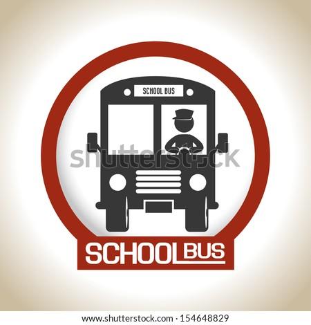 school bus over beige background vector illustration  - stock vector