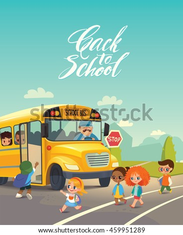 School bus stop. Back To School Safety Concept. Kids riding on school bus. Child boarding school bus. Kids crossing the road. Vector illustration. - stock vector