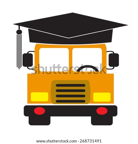 School Bus wearing graduation hat. Vector EPS 10. - stock vector