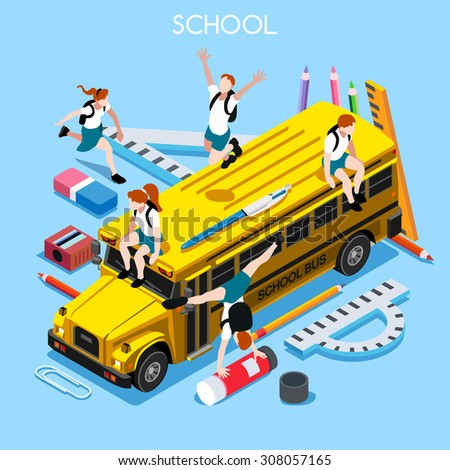 School Bus with Group of Students and Stationery. 3D Flat Isometric People Students. Yellow Bus 4 Back to School concept. Education Infographic School Bus Vehicle and Group of Students Vector Image.