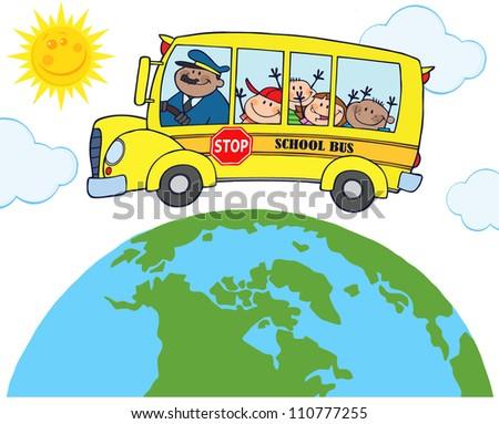 School Bus With Happy Children Around Earth - stock vector