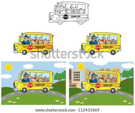 School Bus With Happy Children .Vector Collection - stock vector