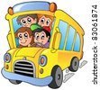 School bus with happy children - vector illustration. - stock vector