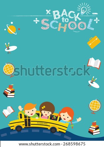 School Bus with Student and Education Icons Frame, School, Learning and Study - stock vector
