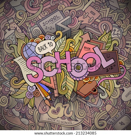 School cartoon hand lettering and doodles elements background. Vector illustration - stock vector