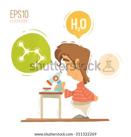 School chemistry lesson colorful vector illustration. Young schoolboy boy child kid pupil holding, using microscope. Isolated on white background. - stock vector
