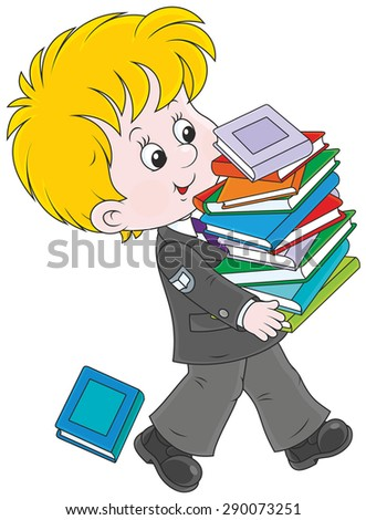 school child carrying a stack of his books - stock vector