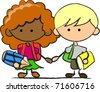 school children - stock vector