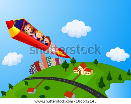 School Children Enjoying Pencil Rocket Ride - stock vector