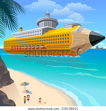 School Children On Beach Waiting For Pencil Cruise - stock vector
